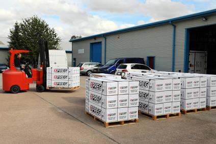 Forklift truck loading pallets of XPREG prepreg carbon fibre