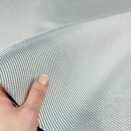 290g 2x2 Twill Alufibre Silver Glass In Hand