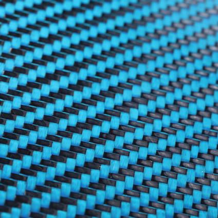 Blue Carbon FIbre Cloth 2/2 Twill Cured Laminate Sample