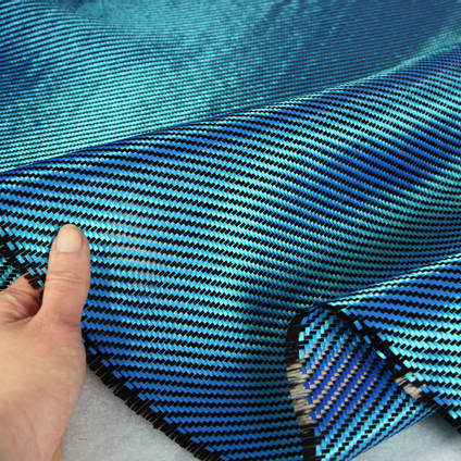Blue Carbon Fibre Cloth 2x2 Twill In Hand