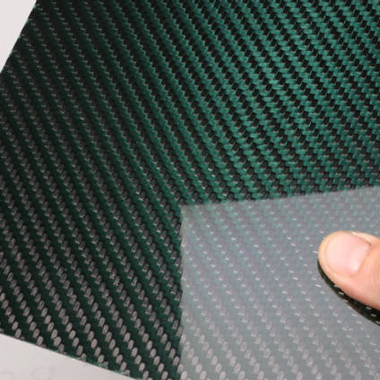 Green Carbon Fibre Cloth 2x2 Twill Cured Laminate Sample
