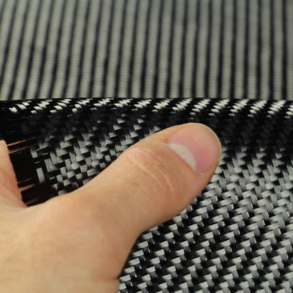 210g 2x2 Twill 3k Carbon Fibre Cloth In Hand Closeup