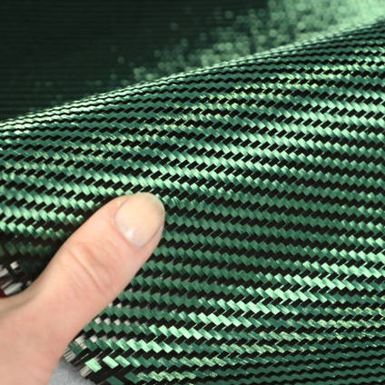 Green Carbon Fibre Cloth 2x2 Twill In Hand