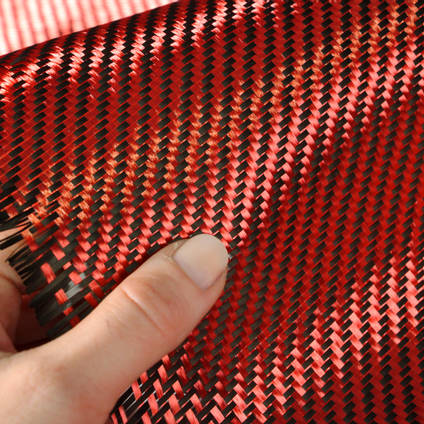Red Carbon Fibre Cloth 2x2 Twill In Hand Closeup