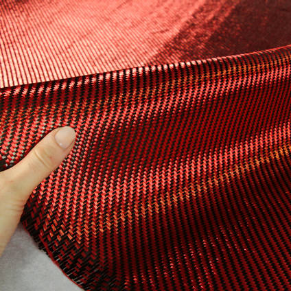 Red Carbon Fibre Cloth 2x2 Twill In Hand