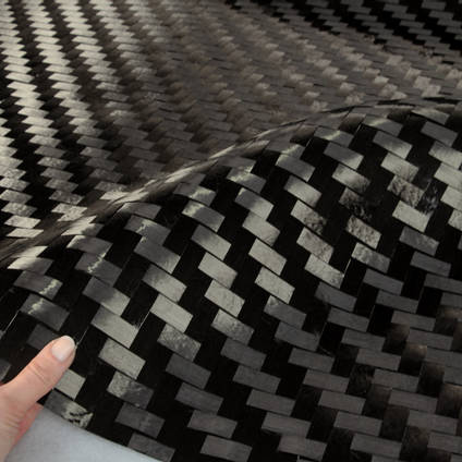 15mm Spread Tow 2x2 Twill Carbon Fibre Cloth In Hand