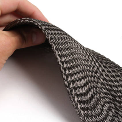 125mm Braided Carbon Fibre Sleeve in Hand