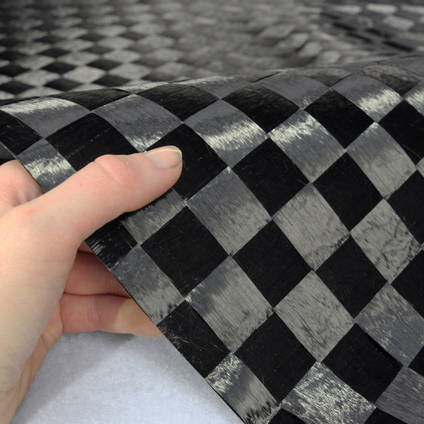 25mm Spread-Tow Plain Weave Carbon Fibre In Hand