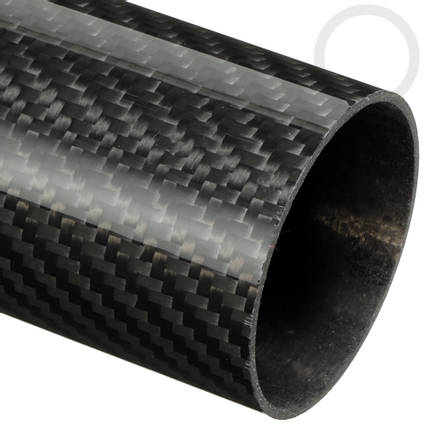 50mm (47mm) Woven Finish Roll Wrapped Carbon Fibre Tube