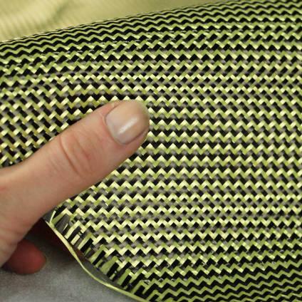 210g 2x2 Twill 3k Carbon Kevlar Cloth In Hand Closeup