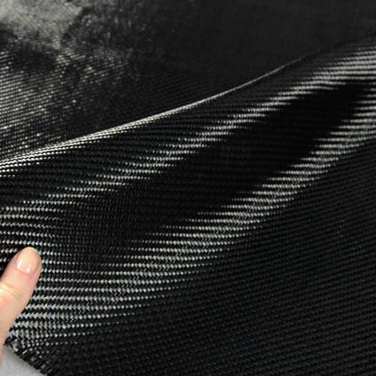 200g 2x2 Twill Carbon Black Twaron Cloth In Hand