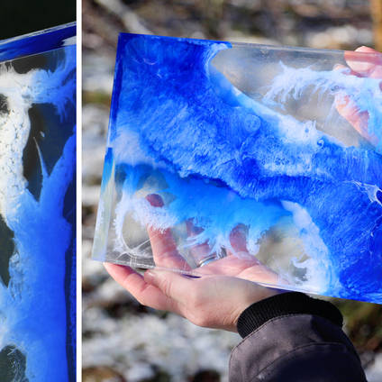 Amazing GlassCast® Resin Art created using GlassCast® 10 Clear Epoxy Casting Resin and Pigments. The resin was poured in multiple layer to create this stunning piece – the possibilities are endless with this fantastic GlassCast® art technique.