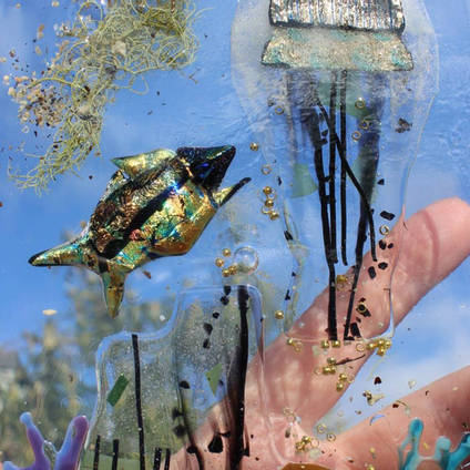 "Incredible resin artwork created using GlassCast® 10 clear epoxy resin with embedded objects and media. Thank you to artist Justine Bainbridge for sharing this extract from her work ""The Journey"" Visit www.justinebainbridge.co.uk to learn more."