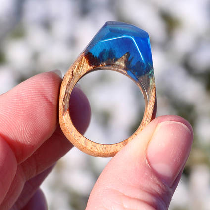 Beautiful Salavaged Wood and Resin Ring  created using GlassCast® 10 Clear Epoxy Casting Resin and tinting pigments. The GlassCast® 10 works exceptionally well with wood making it ideal for creating Wood and Resin Jewellery.