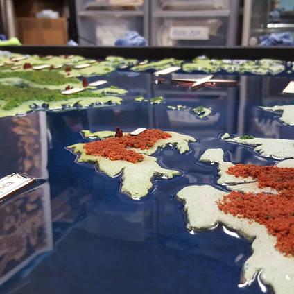 "Amazing 3D map created using GlassCast® 3 Clear Epoxy Resin ""oceans"" tinted with blue pigment. Thank you to model maker and YouTube sensation ""Terrain Tutor"" Mel Bose for sharing this image."