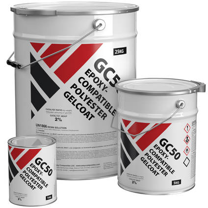 GC50 Epoxy Compatible Clear Polyester Gelcoat - Range of Pack Sizes