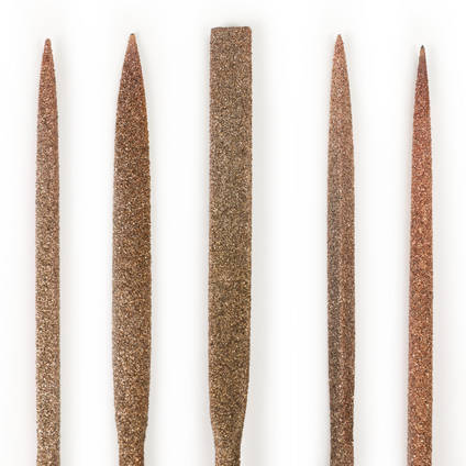 Perma-Grit Set of 5 Large Needle Files Including Handle Closeup