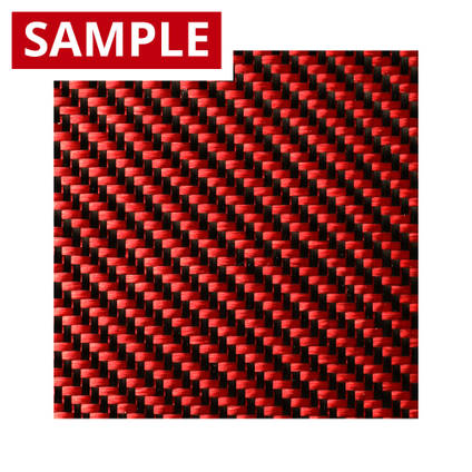 210g 2x2 Twill 3k Carbon Fibre Red - SAMPLE