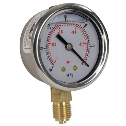 "Glycerine-Filled Vacuum Gauge 1/4"" BSP Bottom Entry"