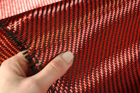 Red Carbon Fibre Cloth 2x2 Twill In Hand Closeup Thumbnail