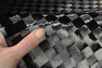 15mm Spread-Tow Plain Weave Carbon Fibre Cloth In Hand Closeup Thumbnail