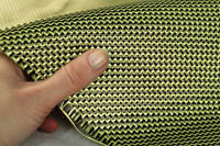 210g 2x2 Twill 3k Carbon Kevlar Cloth In Hand Closeup Thumbnail