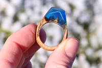 Beautiful Salavaged Wood and Resin Ring  created using GlassCast® 10 Clear Epoxy Casting Resin and tinting pigments. The GlassCast® 10 works exceptionally well with wood making it ideal for creating Wood and Resin Jewellery. Thumbnail
